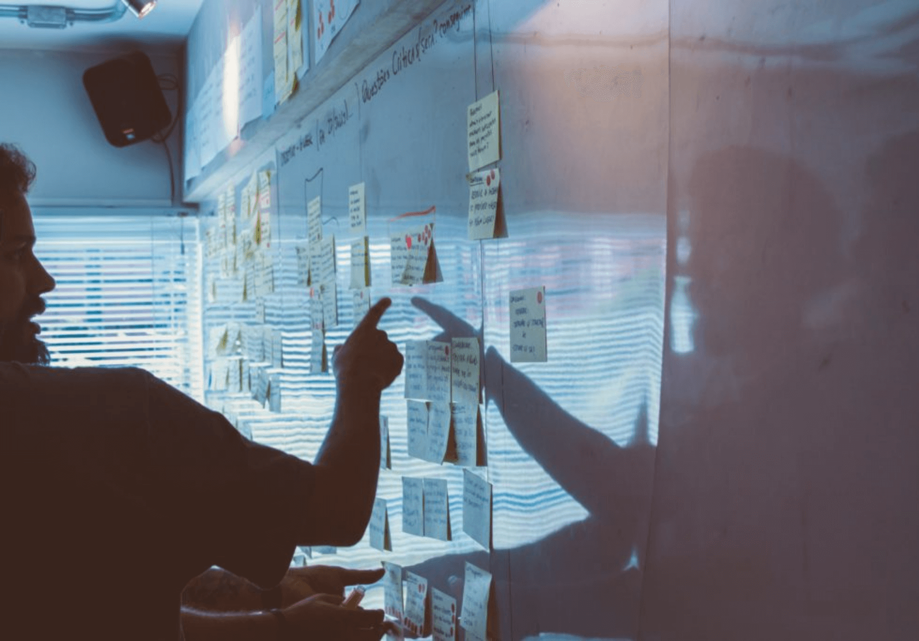 Man working with post it notes