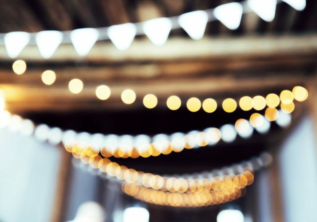 String lights blurred